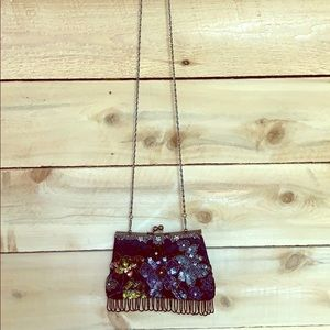 Handbags - Vintage Beaded Clutch w/ Removable Chain